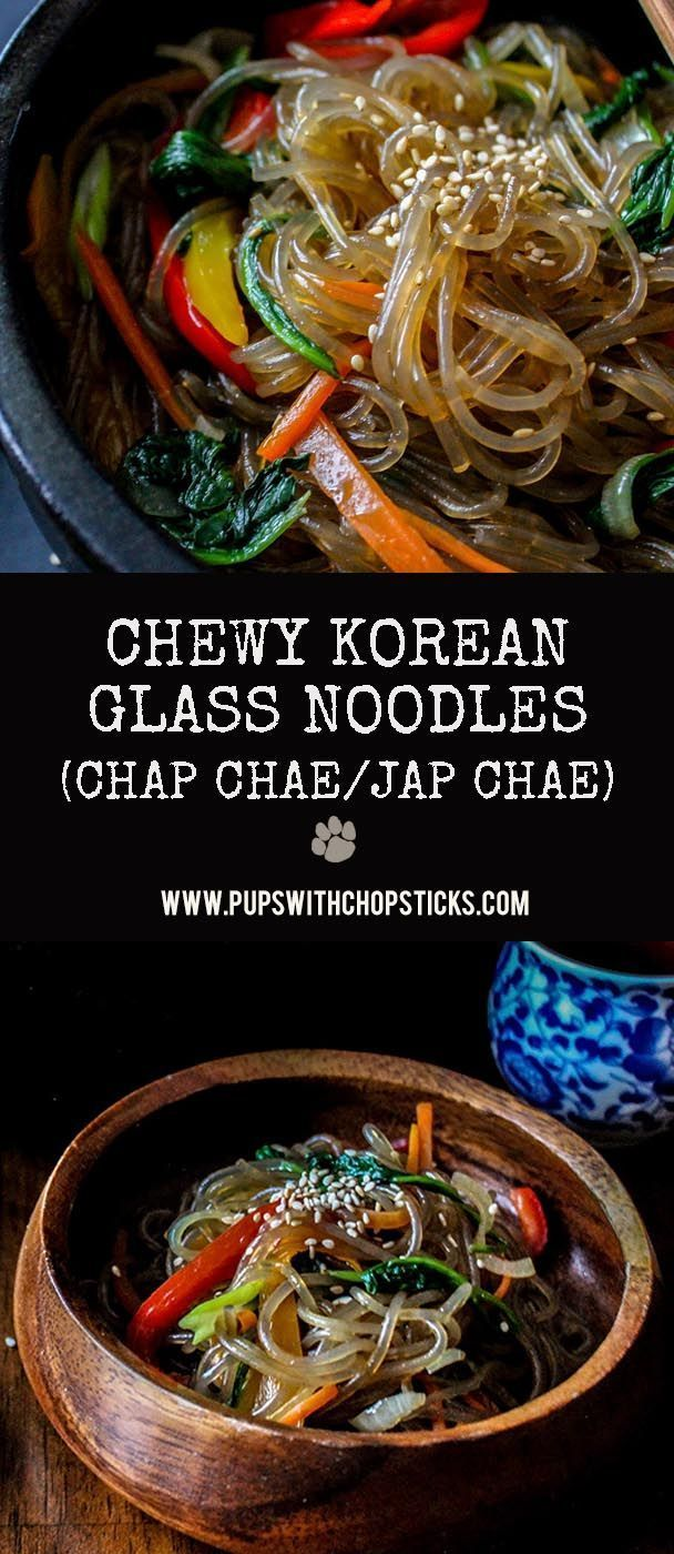 A springy and chewy textured sweet potato noodles seasoned lightly with soy with a variety of vegetables