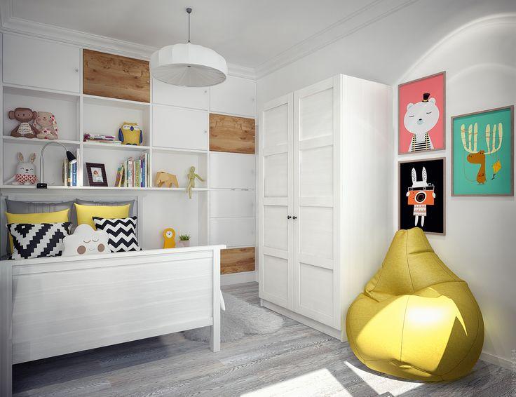 Белая корпусная мебель с деревянными элементами. Кожаное кресло-мешок.
