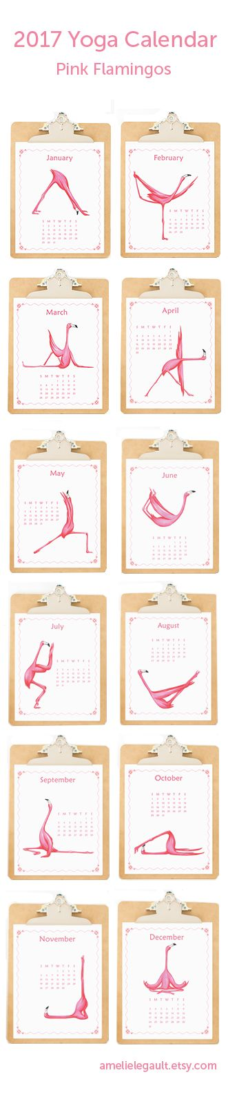 Pink Flamingos Yogis Calendar by artist Amelie Legault, available on Etsy here: https://www.etsy.com/ca/listing/470150880/pink-flamingos-yoga-2017-calendar?ref=related-0  #pinkflamingo 2017calendar #amelielegault #etsy #smallcalendar #wallcalendar #namaste #yogacalendar   ALL RIGHTS RESERVED - Amelie Legault