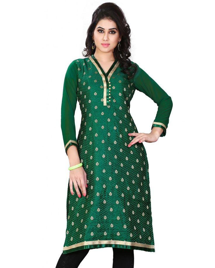 This is a casual wear tunic - kurti made from jacquard fabric.  Size Guide:  S - 36 Inches(Bust).  M - 38 Inches(Bust).  L - 40 Inches(Bust).  XL - 42 I