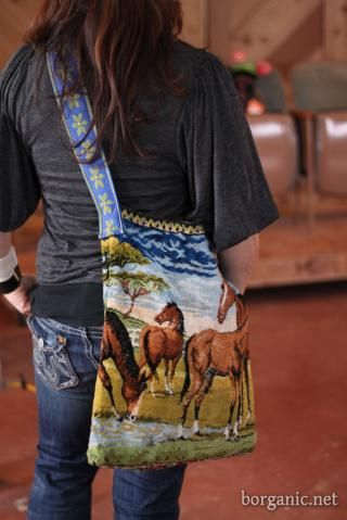 Make a tote from an old tapestry and heavy trim or belt for strap
