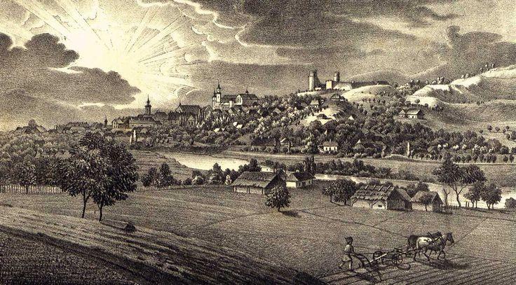 Zamek Kazimierzowski w Przemyślu - Przemyśl od północy, litografia Macieja Bohusza Stęczyńskiego z 1846 roku