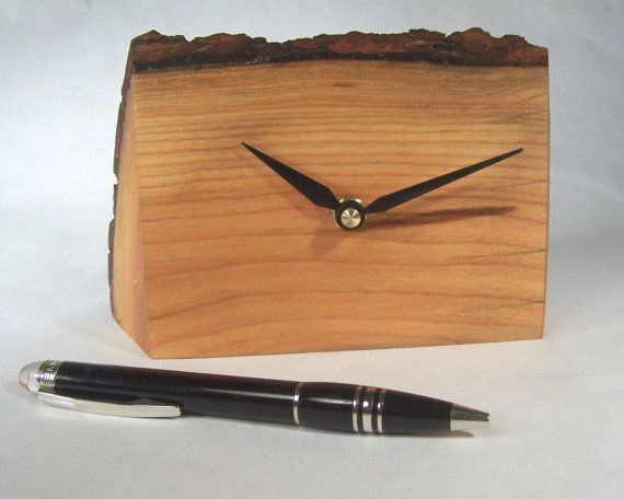 Wood Desk Clock Desk Clock Cherry Wood Clock by MountainMiraclesUS