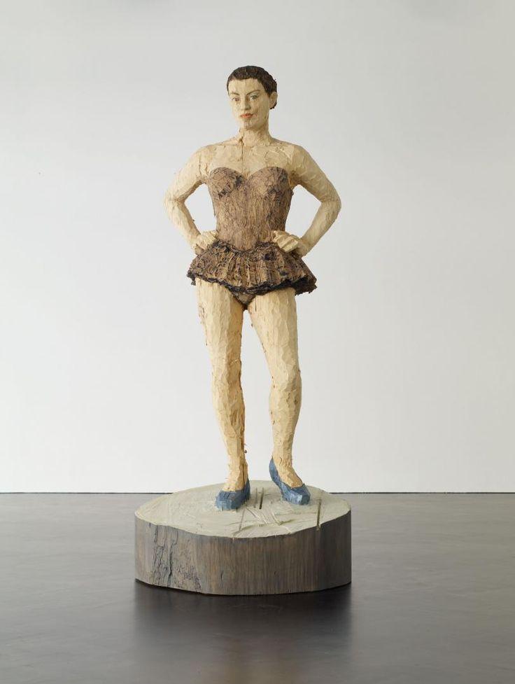 Stephan Balkenhol, Ballerina, 2013, painted wawa wood, 224 x 95 x 88 cm © Stephan Balkenhol / Stephen Friedman Gallery