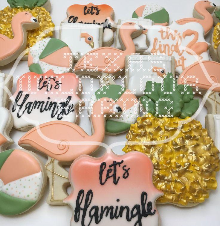 Flamingo bachelorette party cookies. Let's flamingle. The final strut.