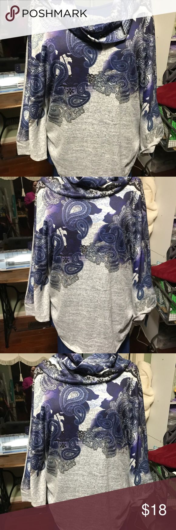 Batwing top T-shirt material Paisley royal blue top Passport Tops Tunics