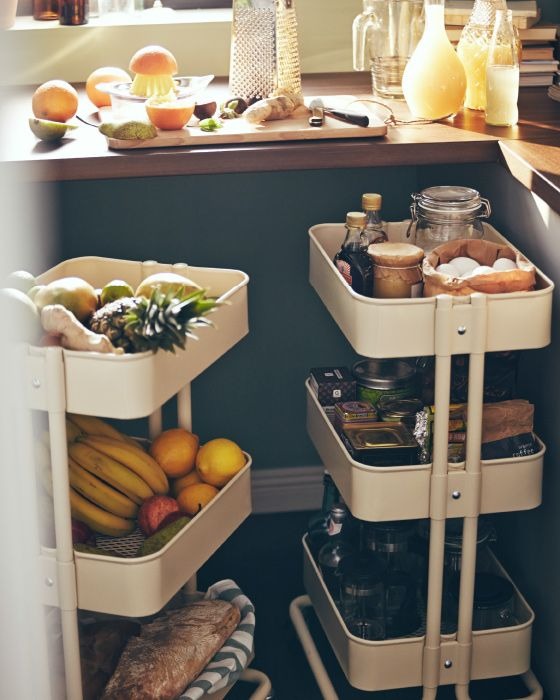 A few traditional signature pieces go a long way to give a traditional kitchen look. We like to use rustic or industrial inspired furnishings (like these kitchen utility carts).