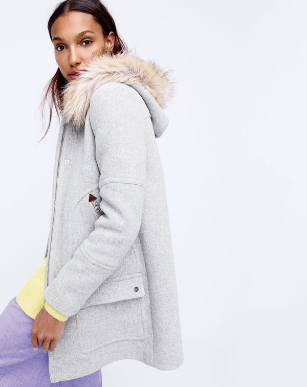 The J.Crew women's chateau parka in heather dusk.