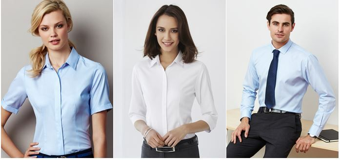 Introducing the Stirling shirt from Biz Collection, available in blue, white, and silver; in short and 3/4 sleeves, for both ladies' and men's.