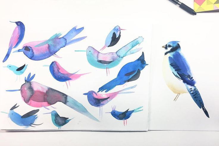 9/100 Left: student (moi). Right: teacher (@craiglueck ). Amazing lunchtime painting sesh with lots of artists I admire! So much to learn about loosening up working this way giving over control to the brush and quick movements. Really different way of working for me but I cranked out 5 or 6 pages of these birds in the span of an hour or so. Craig was nice enough to gift me this bluebird which was as he said about 8 minutes worth of work. Thanks for organizing @colinwalshillustrations…
