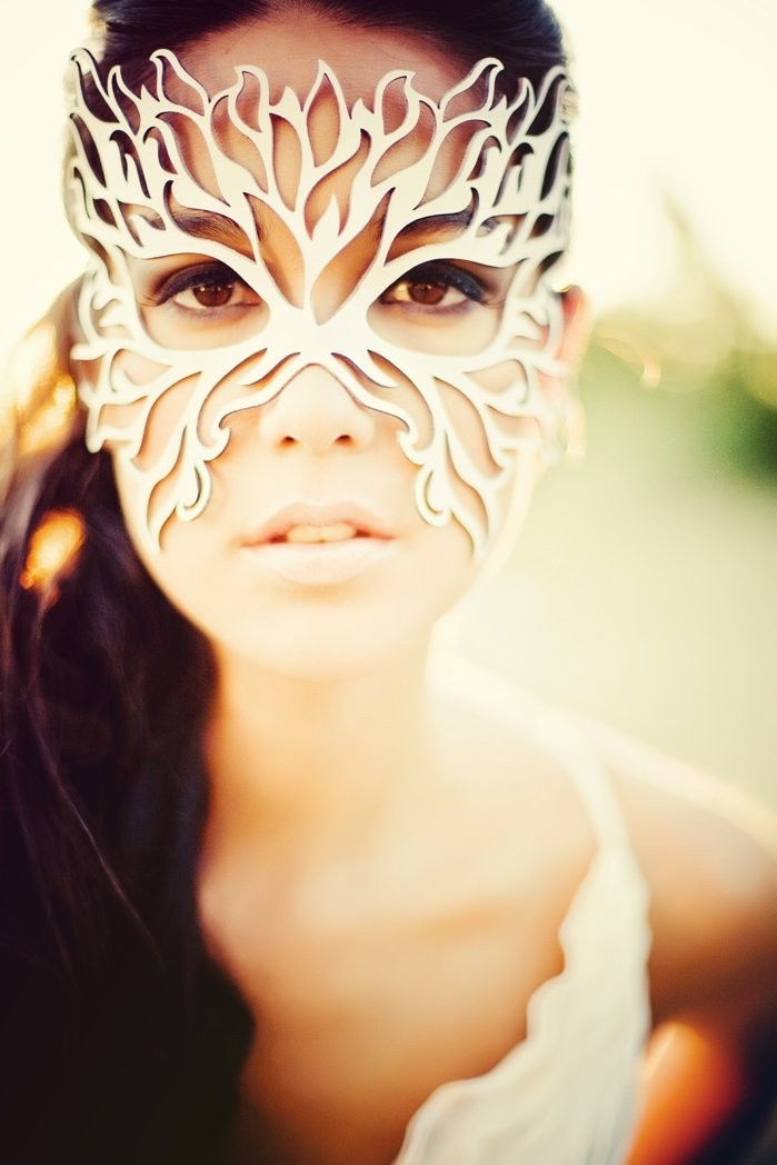 Filigree Flame leather mask in white. $39.00, via Etsy.