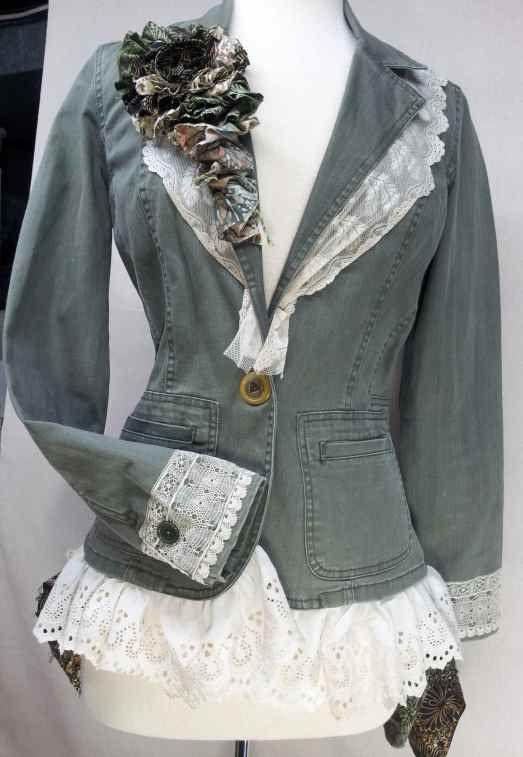 Upcycled Clothing / Upcycled Jacket / Antique Lace / Batik Bustle