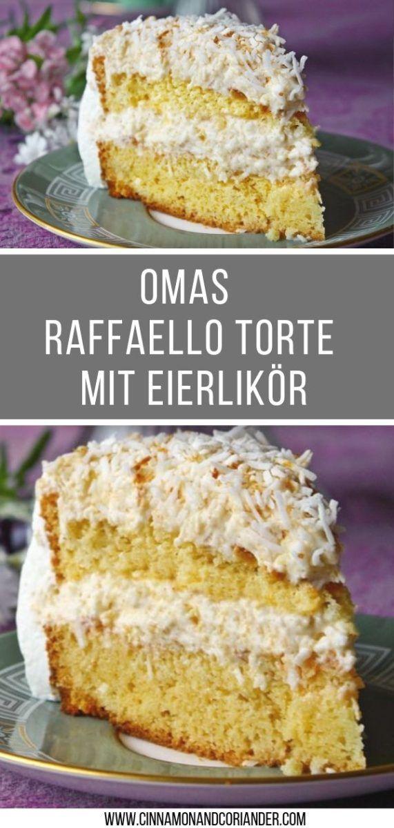 Omas Geniale Raffaello Torte Mit Eierlikor Rezept Raffaello Torte Dessert Rezepte Kuchen Ideen