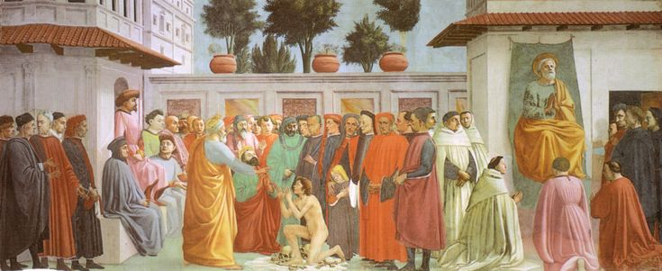 Resurrezione del figlio Teofilo, affresco di Masaccio, 1425, chiesa di Santa Maria del Carmine