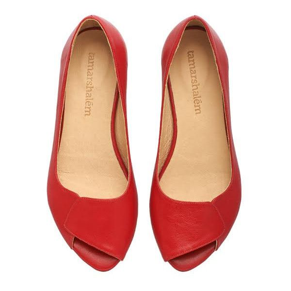 Aya Red Peep Toe Flats Handmade Leather Open Toe Sandals by... (595 PEN) ❤ liked on Polyvore featuring shoes, sandals, silver, women's shoes, peep toe sandals, peep-toe flats, red shoes, leather shoes and red flat shoes