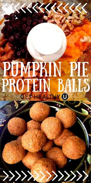 Check out our AMAZING pumpkin pie protein balls! They taste like rolled up pumpkin pie filling, but each serving also has almost 7 grams of protein! They are totally vegan, gluten free, and super easy to make!