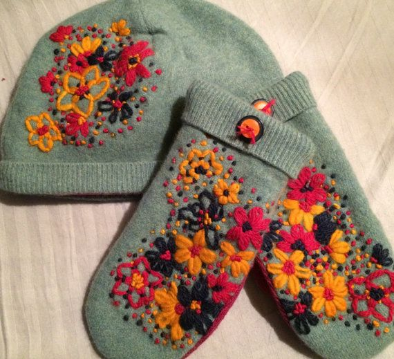 1)   Nice felted  wool hand embroidered hat and mitten set    Bright colored   Lined with fleece  size small mittens