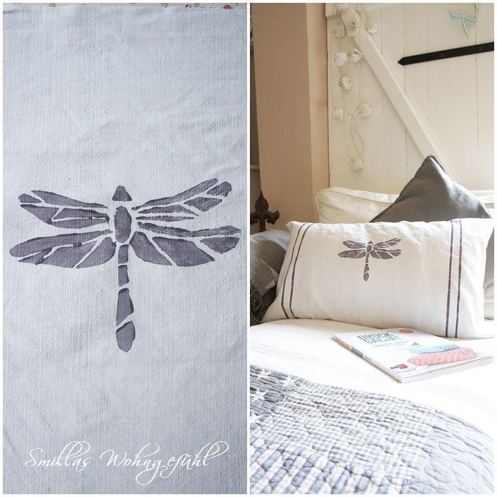 DIY how create your own stamp, easy! Anleitung: Stempel selber machen Dragonfly pillow: http://smillaswohngefuehl.blogspot.de/2015/05/diy-und-bucherliebe-drucksache-und-ein.html