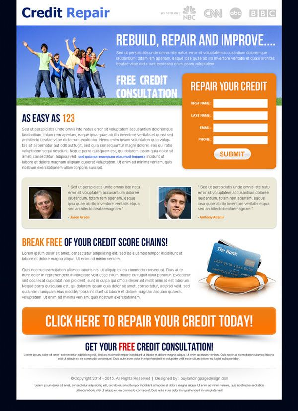 The Best Converting Landing Pages Images On Pinterest - Credit repair website template