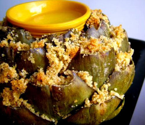 Health Craft Cookware Company - Stuffed Artichokes, Recipe Help Line: 1-800-443-8079 (http://www.healthcraft.com/waterless-cooking-recipes-videos/waterless-cooking-vegetables/stuffed-artichokes/)