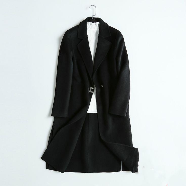 Winter Simple Long Full Sleeve Sheep Wool Black Elegant Coats For Womens Casacos Feminino Manteau Doudoune Femme Abrigo Mujer