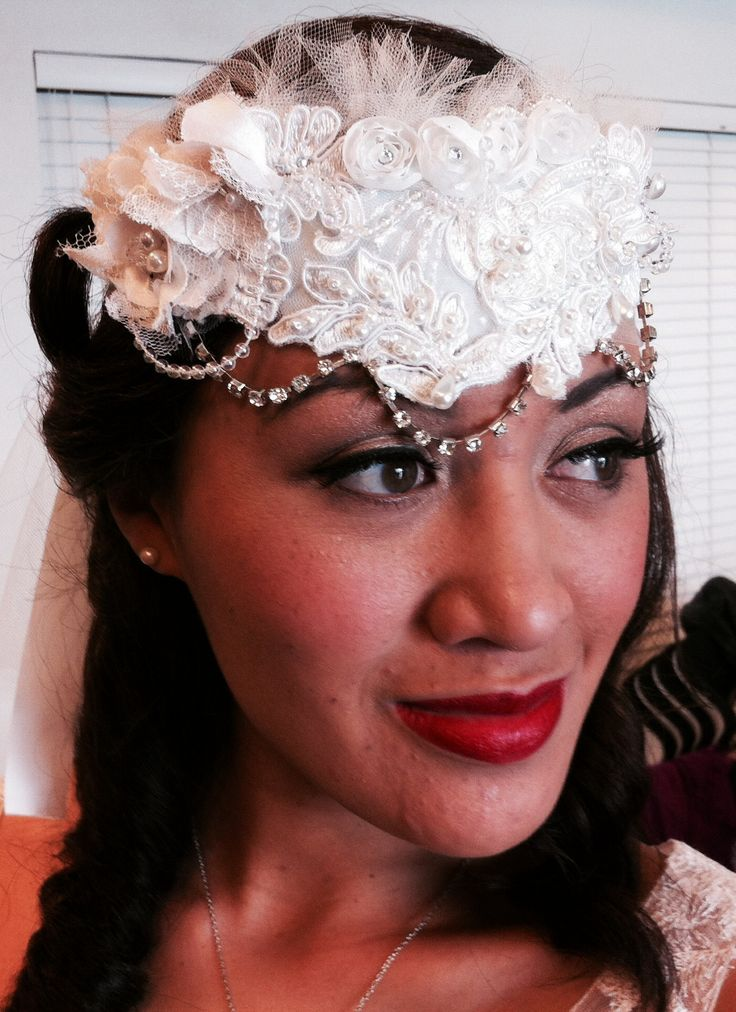 Pearls, diamantes, and tulle headband tied at the back. www.margotarderndesigns.com
