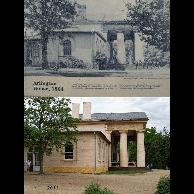 Arlington House is a Greek-revival style mansion located in Arlington, Virginia, that was once the home of Confederate General Robert E. Lee.    During the Civil War in 1864 (upper picture), the military cemeteries of Washington and Alexandria were filled with Union dead, and Arlington was selected as the site for a new cemetery and the burial of 26 Union soldiers in Mrs. Lee's prized rose garden was ordered.