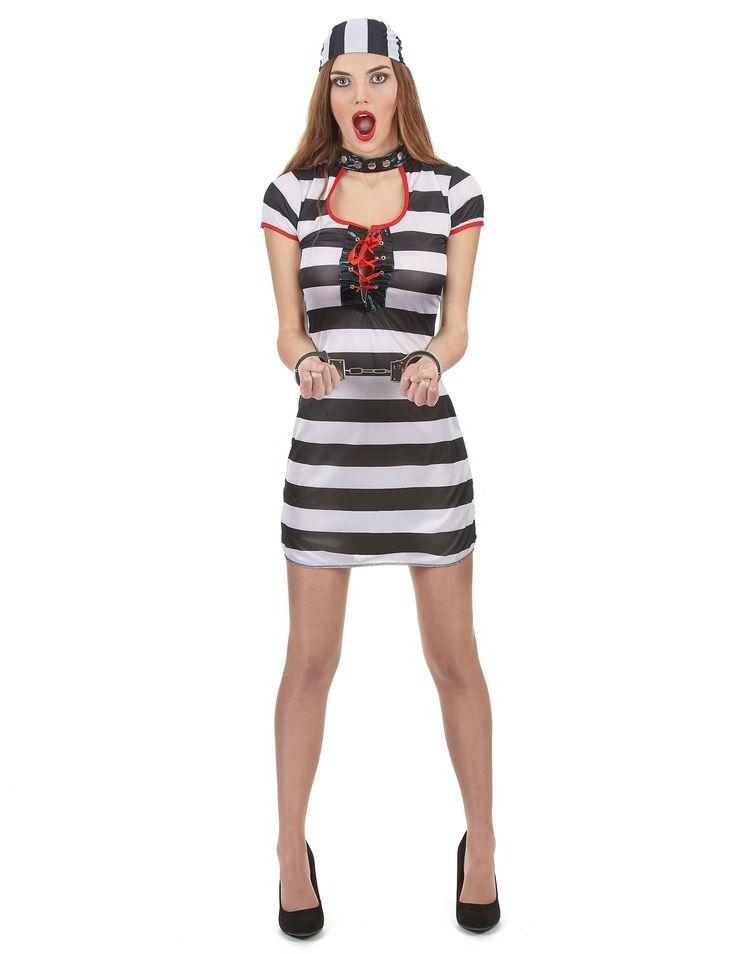 Déguisement prisonnier femme : Ce déguisement de prisonnière femme se compose d'une robe et d'une coiffe. La robe est courte et une ouverture au niveau de la poitrine donne un effet décolleté.La...
