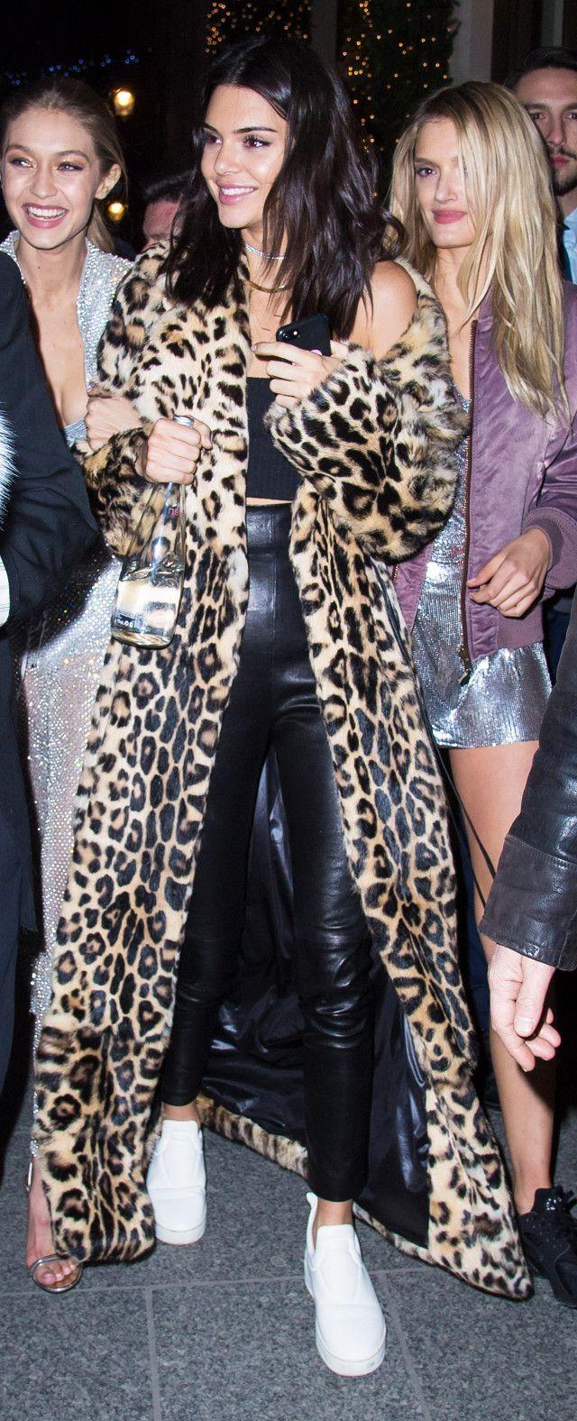 Kendall Jenner Plein Sud leopard coat
