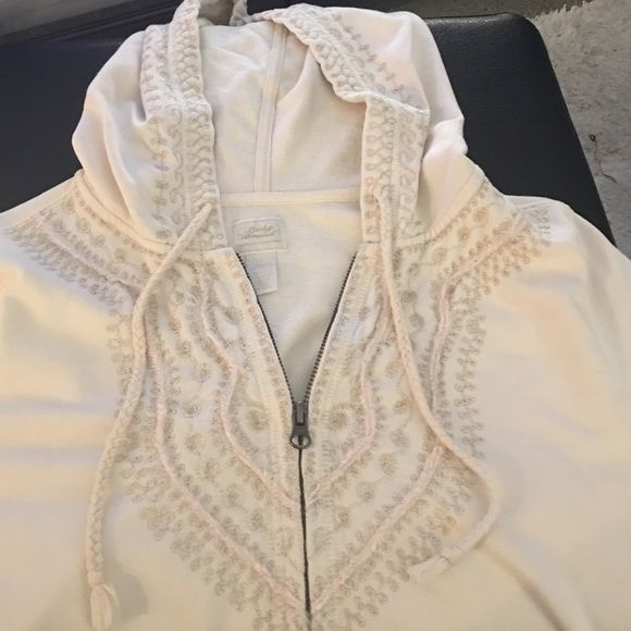 Lucky Brand embroidered hoodie Cream colored zip-up hoodie embroidered with cream and gold threading. Lucky Brand Tops Sweatshirts & Hoodies