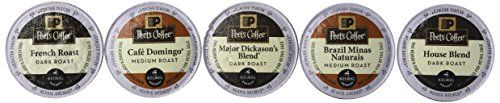 Peets Coffee Sampler Variety Pack without Decaf (Brazil Minas Naturais, Cafe Domingo, House Blend, Major Dickasons, French Roast), 30 K-cup * Click image for more details. #SingleServeCoffeeCapsules