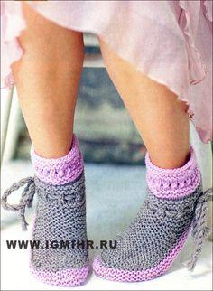 Серо-розовые носки. Спицы