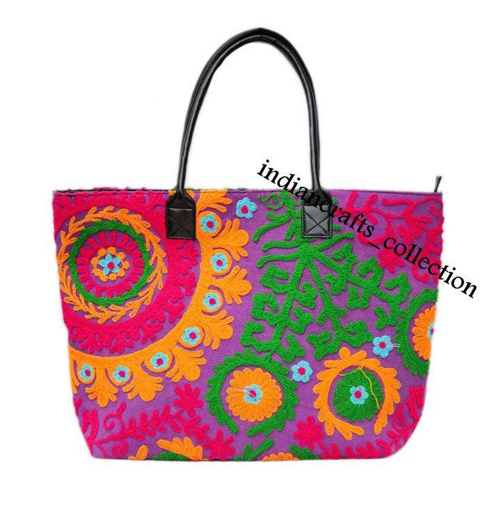 Indian Cotton Suzani Handbag Embroidery & Woman ShoulderTote Bag Beach Boho Bag  #Handmade #ShoulderBag