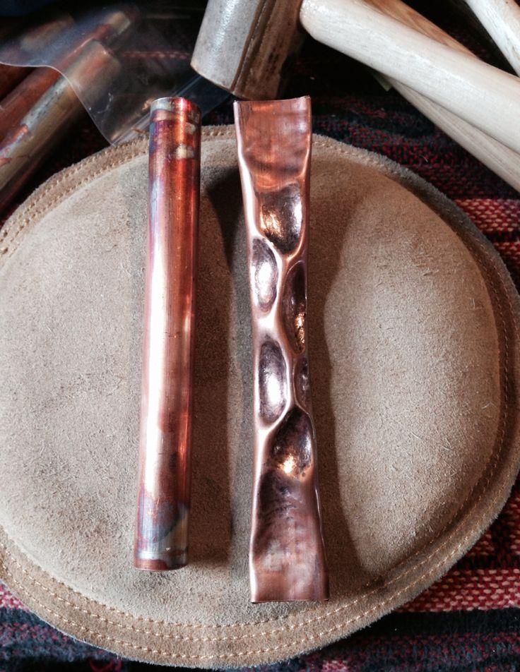 Air Chasing Copper Pipe into a Cuff Bracelet - Tecnica dell'air chasing su tubo di rame