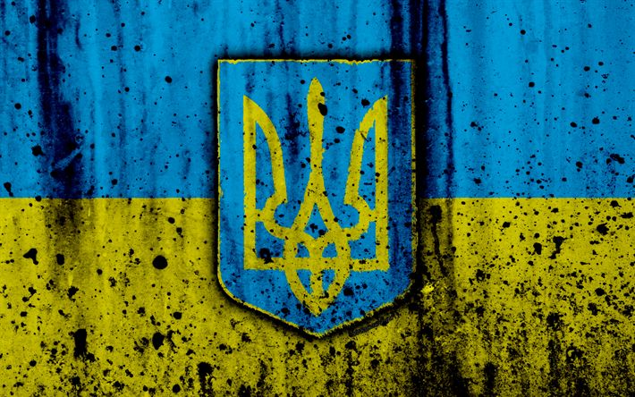 Download wallpapers Ukrainian flag, 4?, grunge, flag of Ukraine, Europe, national symbols, Ukraine, coat of arms of Ukraine, Ukrainian coat of arms