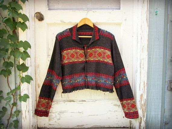 Large XL Southwestern bohemian cropped cardigan sweater.  Fine Merino wool with a vibrant Southwestern pattern against a charcoal gray background.  *