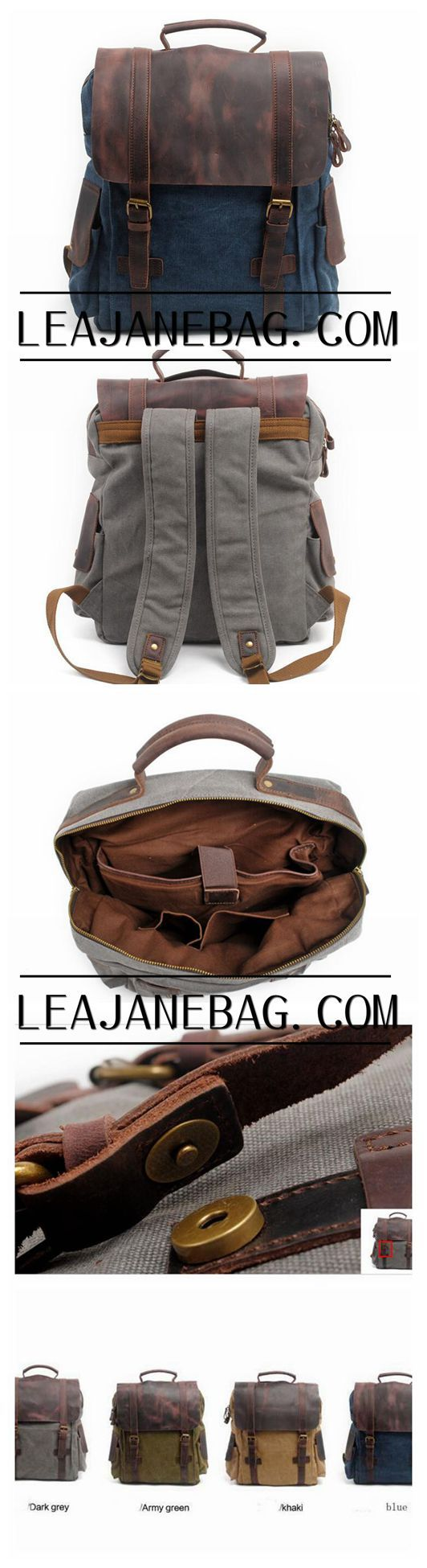 High School Canvas Backpack, Leather Canvas Backpack,Travel Backpack GN017