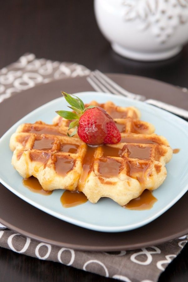 Sticky Caramel Waffles   Use regular sized cinnamon rolls and stuck three together to make 1 big waffle in my Belgium waffle maker. You can also use the regular Grands rolls, and have the waffles a bit smaller. They even make a Grands cinnamon rolls in caramel available at some stores.