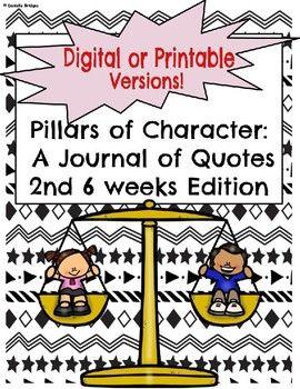 2nd 6 weeks-Pillar of Character: A Journal of... by The Digital Daydreamer | Teachers Pay Teachers