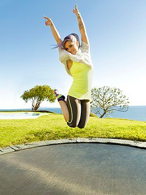 Trampoline workout: tones and elongates muscles, easy on joints, cures headaches, and makes you feel like a kid again