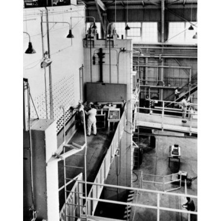 USA Tennessee Oak Ridge Oak Ridge National Laboratory high angle view of scientists working in nuclear laboratory Canvas Art - (18 x 24)