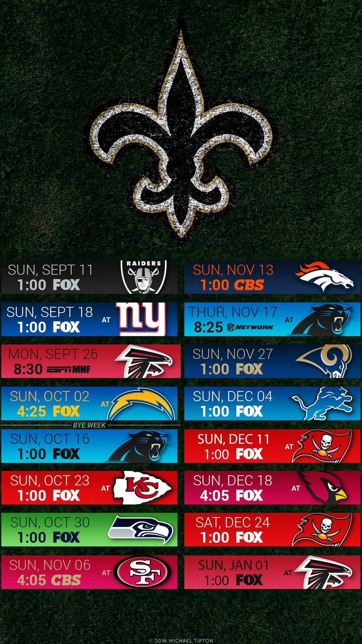 2016 New Orleans Saints Football Schedule Wallpaper