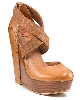 """Lucky Brand """"Nana"""" Platform Wedges.Classic leather meets modern elastic in Lucky Brand's towering wedges. Pair with textured tights for even more chic contrast.•5"""" wedge, 1 1/2"""" platform"""