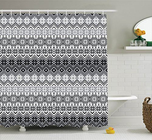 Grey Decor Shower Curtain Set By Ambesonne, Nordic Snowflake Knit Patterns Scandinavian Motifs Traditional Modern Print Chic Home Deco, Bathroom Accessories, 69W X 70L Inches, Gray White Black