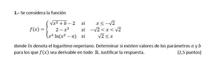 Ejercicio 1A 2014-2015 Julio. Propuesto en examen pau de Canarias. Matemática. Continuidad, derivabilidad y representación de funciones. Límites.