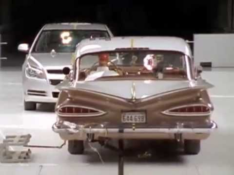 A small 2009 car demolishes a 1959 Chevy in a crash test; amazing how much passenger safety has improved