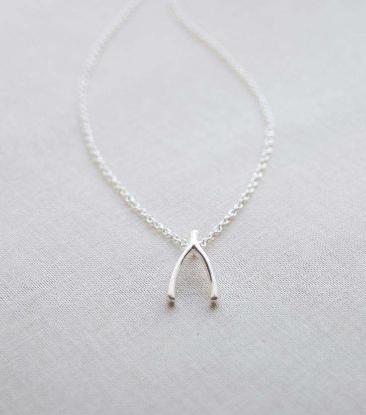 Lucky Wishbone Necklace by Olive Yew. Choose from silver or gold.