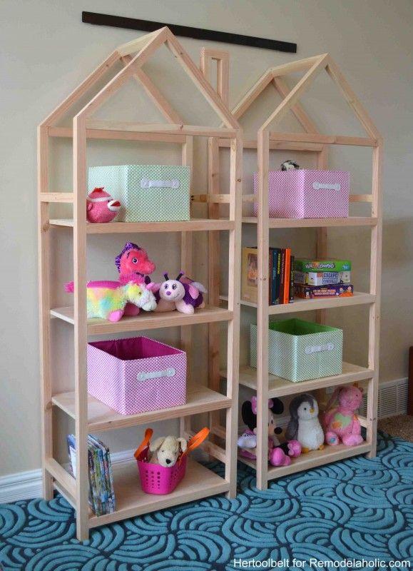 Free and easy plans to build a DIY house frame bookshelf.