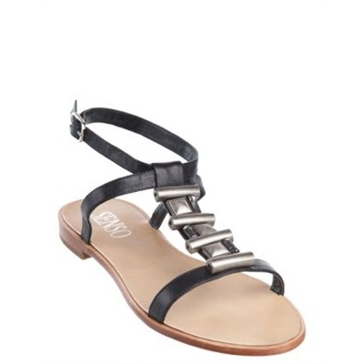 Senso Italy - Viv Flat Sandals    It features a leather upper, an almond shaped open toe, band at front and t-bar strap embellished with faceted crystals and metal adornments. The sandals feature a leather strap around ankle affixed with an adjustable buckle closure. The Senso Viv flat sandals have a non-slip heel.
