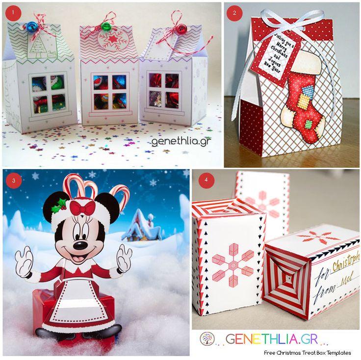 χριστουγεννιατικα κουτια για γλυκα-Christmas treat box templates